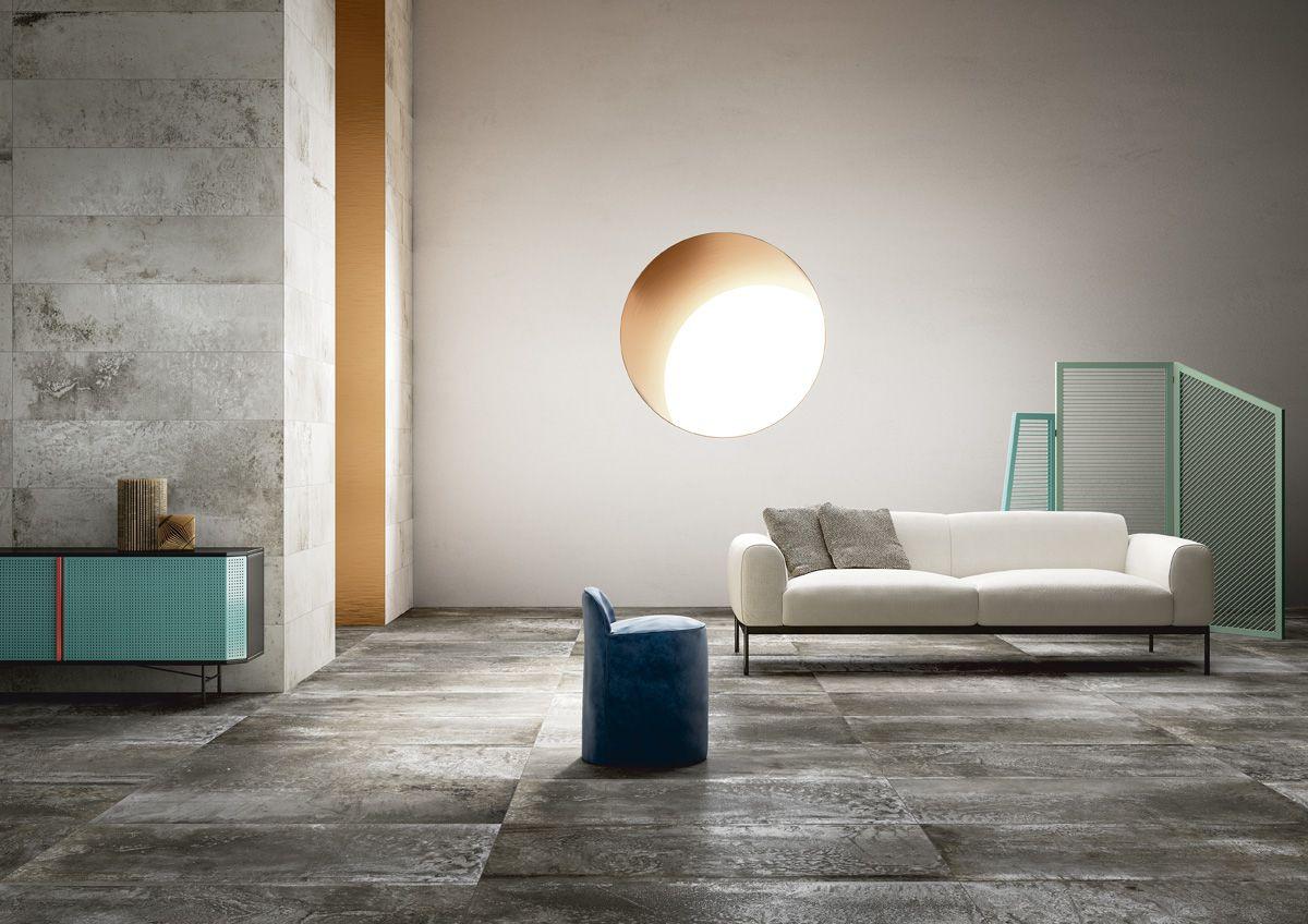 Piastrelle effetto metallo e cemento per pavimenti e rivestimenti