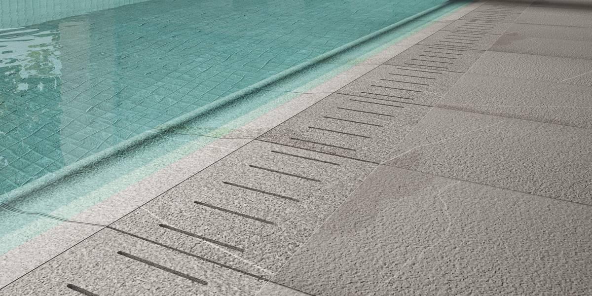 Rivestimenti per piscine: piastrelle antiscivolo, bordi vasca e griglie di scolo - Fiandre